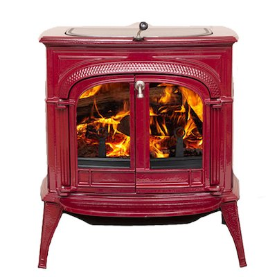 Vermont Intrepid II Wood Stove Enamel Bordeaux Clear Glass Door