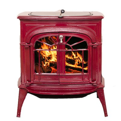 Vermont Intrepid II Wood Stove Enamel Bordeaux Tracery Glass Door