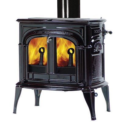 Vermont Intrepid II Wood Stove Enamel Majolica Brown Clear Glass Door