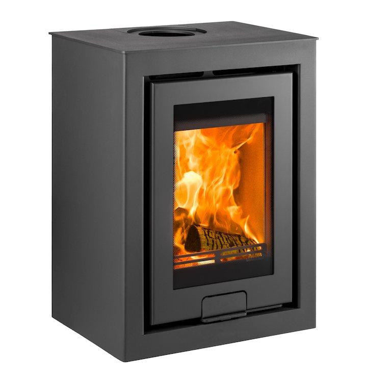 Di Lusso R4 Cube Wood Stove Black Quattro - Black