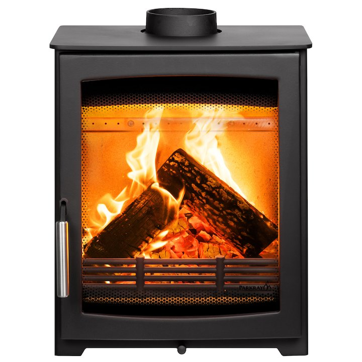 Parkray Aspect 5 Compact Wood Stove Black Silver Handles - Black