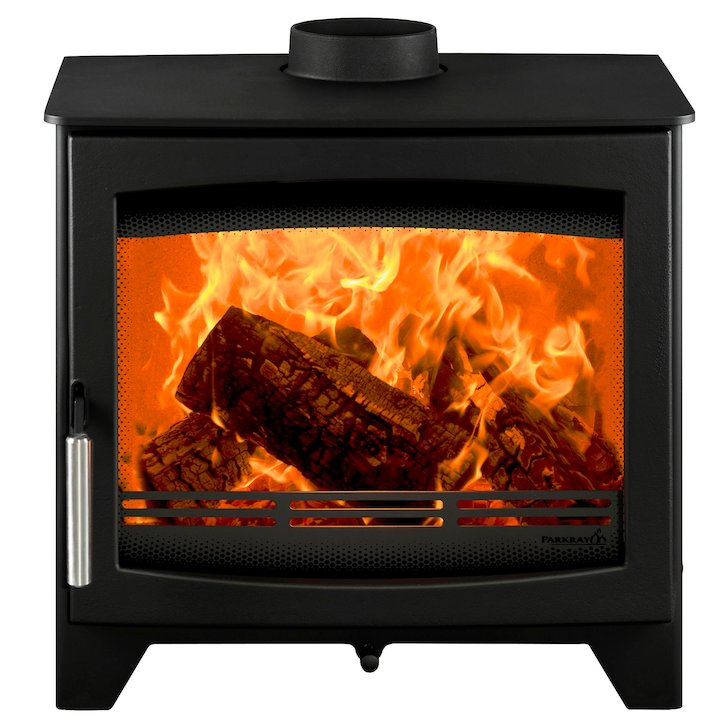 Parkray Aspect 7 Wood Stove Black Silver Handles - Black