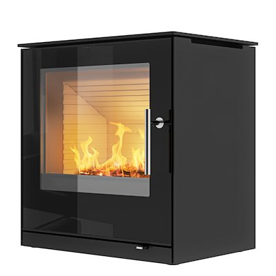 Rais Q-Tee 2 Wood Stove Black Black Glass Framed Door