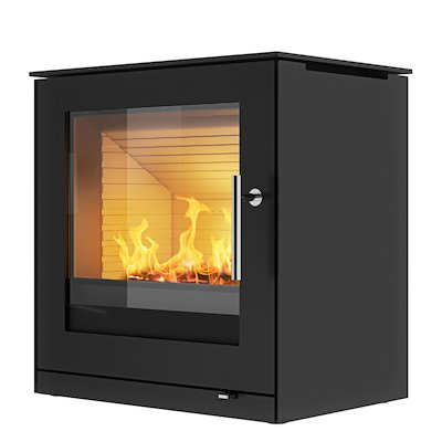 Rais Q-Tee 2 Wood Stove Black Metal Framed Door