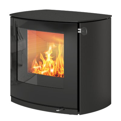Rais Q-Tee 2 Curved Wood Stove Black Black Glass Framed Door