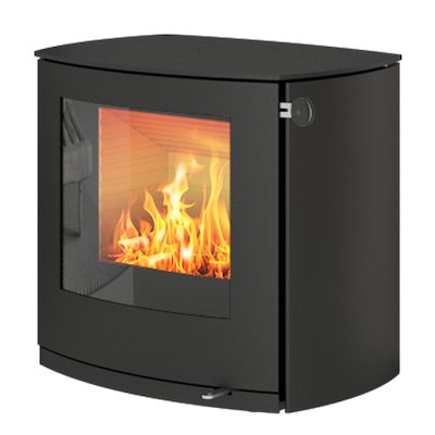 Rais Q-Tee 2 Curved Wood Stove Black Metal Framed Door