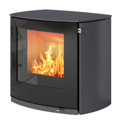 Rais Q-Tee 2 Curved Wood Stove Platinum Black Glass Framed Door