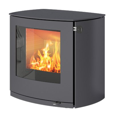 Rais Q-Tee 2 Curved Wood Stove Platinum Metal Framed Door
