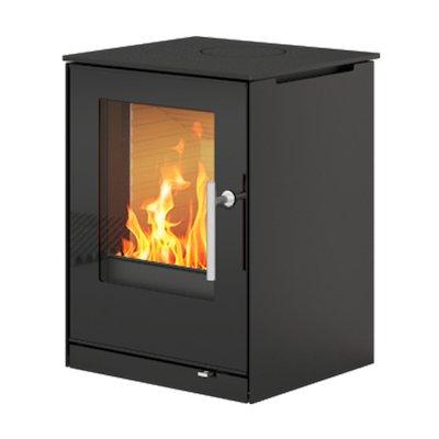 Rais Q-Tee 57 Wood Stove Black Black Glass Framed Door