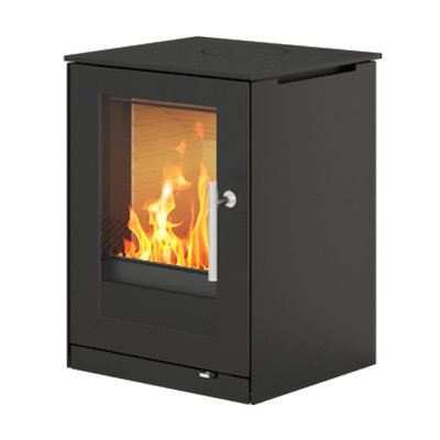 Rais Q-Tee 57 Wood Stove Black Metal Framed Door