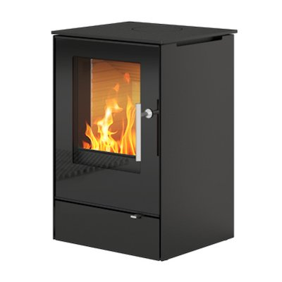 Rais Q-Tee 65 Wood Stove Black Black Glass Framed Door