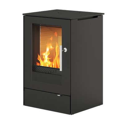 Rais Q-Tee 65 Wood Stove Black Metal Framed Door