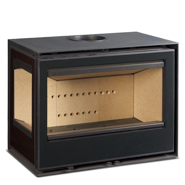 Rocal Habit 76 Wood Stove Black Left Side Glass - Black