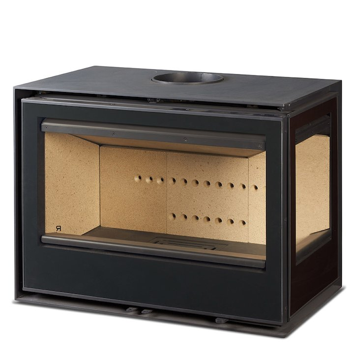 Rocal Habit 76 Wood Stove Black Right Side Glass - Black