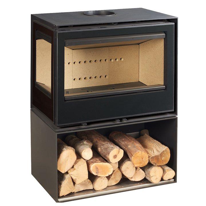 Rocal Habit 76 Logstore Wood Stove Black Left Side Glass - Black