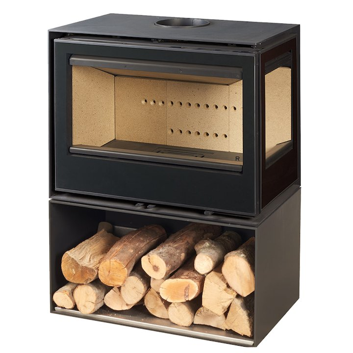 Rocal Habit 76 Logstore Wood Stove Black Right Side Glass - Black