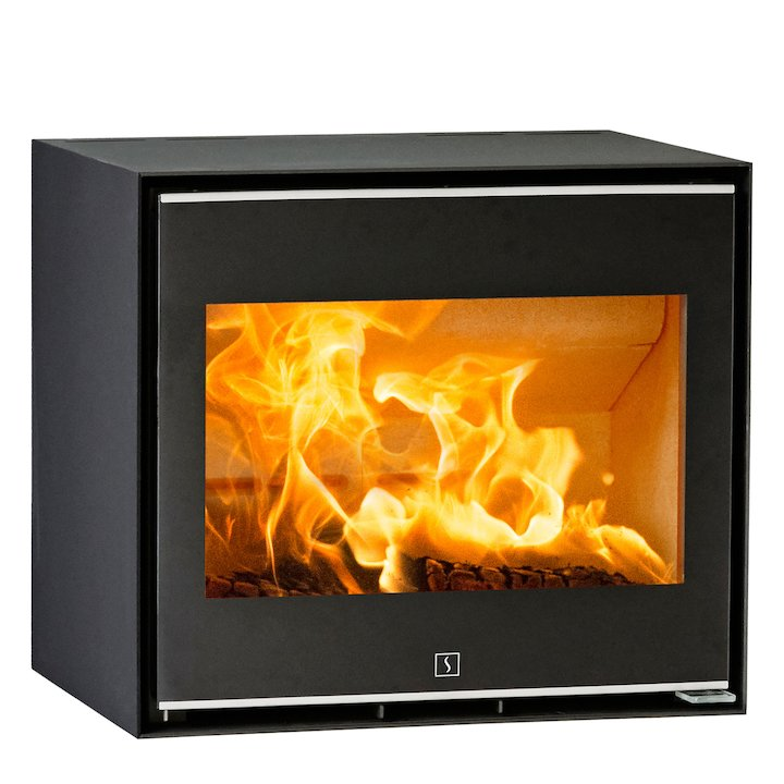 Scan 1010 Wood Stove Black Silver Trim - Black