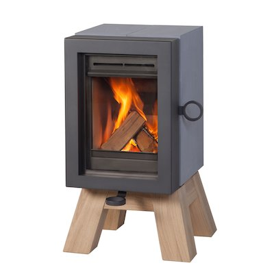 Wanders Oak Wood Stove Grey Wood Legs