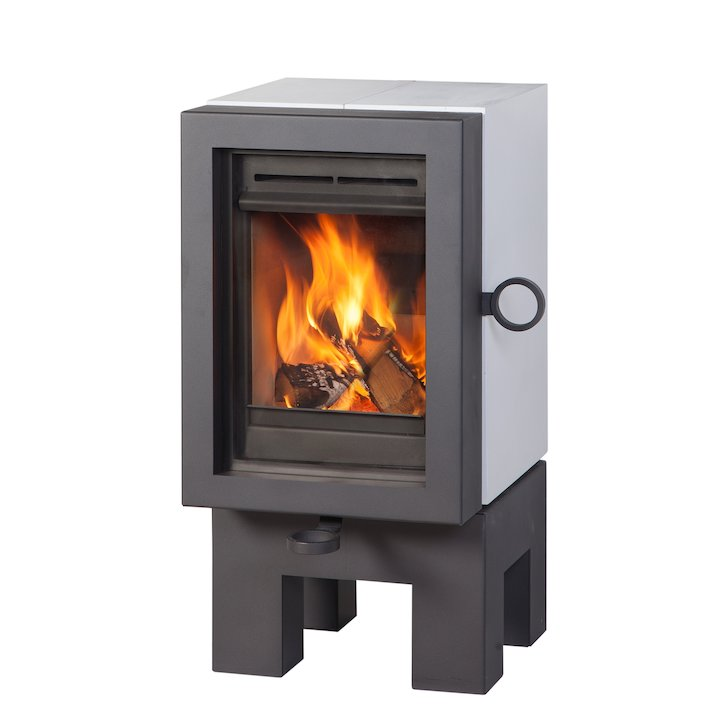 Wanders Oak Wood Stove White Black Legs - White