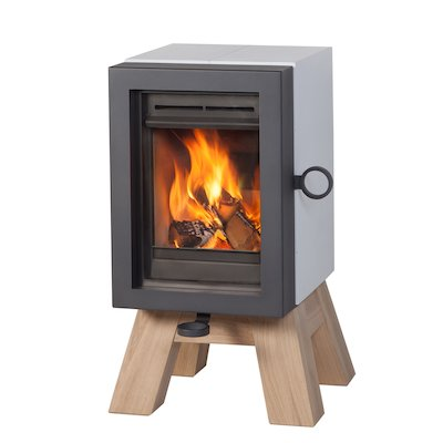 Wanders Oak Wood Stove White Wood Legs