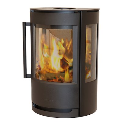 Wiking Luma Plinth Wood Stove Black Side Glass Windows