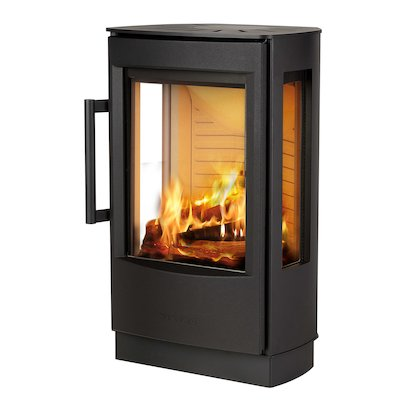 Wiking Miro Plinth Wood Stove Black Side Glass Windows