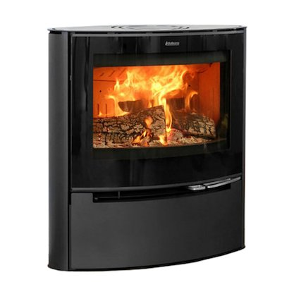 Aduro 15 Wood Stove Black Black Glass Framed Door