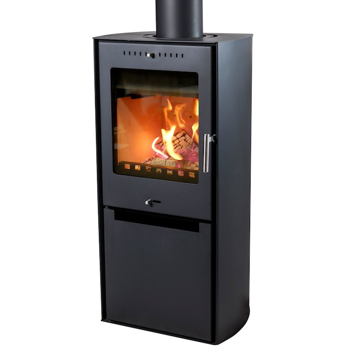 Aduro Asgard 9 Wood Stove Black Logstore with Door - Black