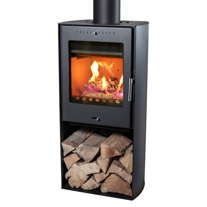 Aduro Asgard 9 Wood Stove Black Open Logstore - Black