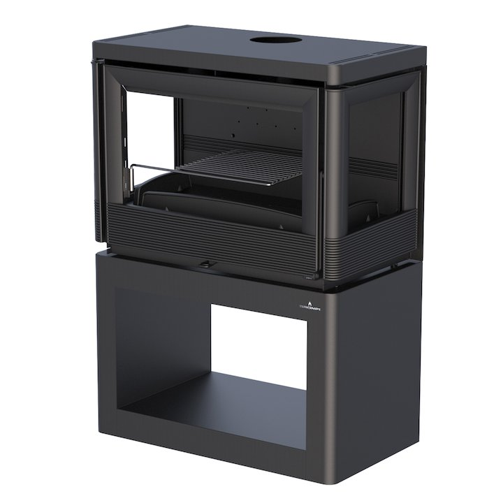Bronpi Versalles Wood Stove - Side Glass - Black