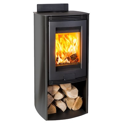 Di Lusso R4 Euro Wood Stove Black Curved Sides