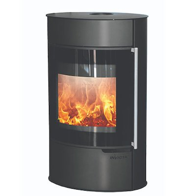 Invicta Tana Logstore Wood Stove Black Black Glass Framed Door