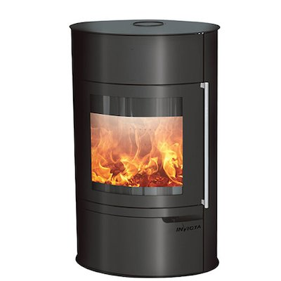 Invicta Tana Logstore Wood Stove Black Metal Framed Door