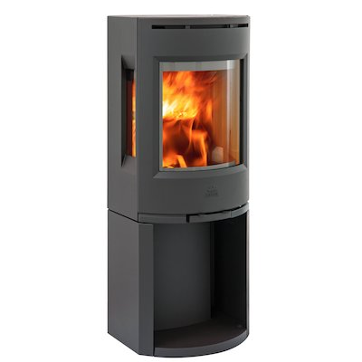 Jotul F130 Logstore Wood Stove Black Side Glass Windows