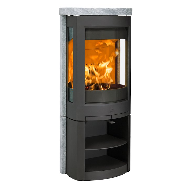 Jotul F371 Advanced Wood Stove Black/Soapstone Open Logstore - Black / Soapstone
