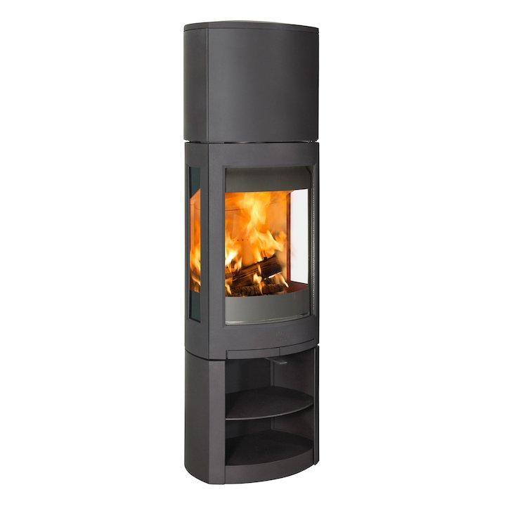 Jotul F371 Advanced High Top Wood Stove Black Open Logstore - Black
