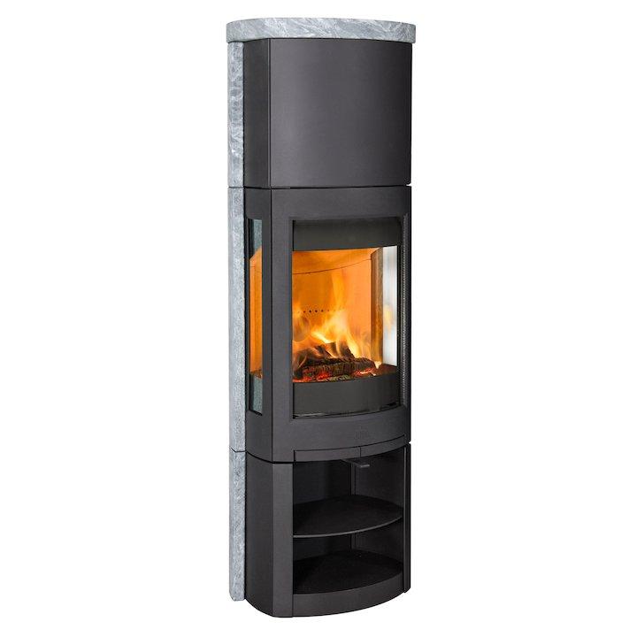 Jotul F371 Advanced High Top Wood Stove Black/Soapstone Open Logstore - Black / Soapstone