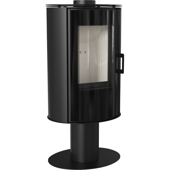 Kratki Koza AB Pedestal Wood Stove Black Rotating Pedestal Black Glass Framed Door - Black