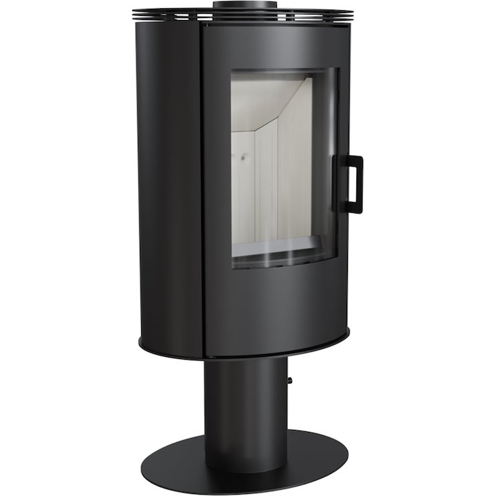 Kratki Koza AB Pedestal Wood Stove Black Rotating Pedestal Metal Framed Door - Black