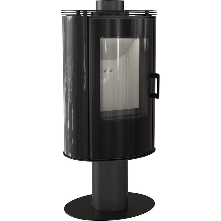 Kratki Koza AB Pedestal Wood Stove Ceramic Black Tiles Rotating Pedestal Black Glass Framed Door - Ceramic Black Tiles