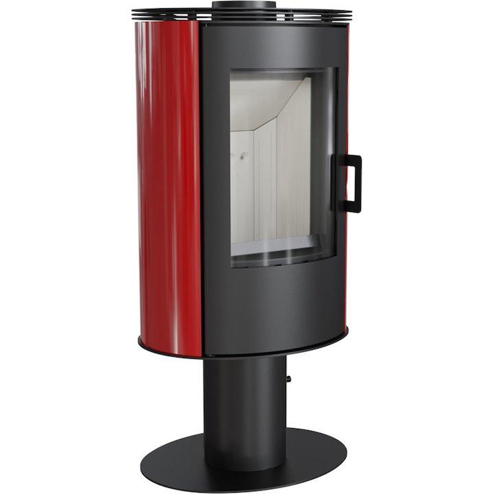 Kratki Koza AB Pedestal Wood Stove Ceramic Red Tiles Fixed Pedestal Metal Framed Door - Ceramic Red Tiles