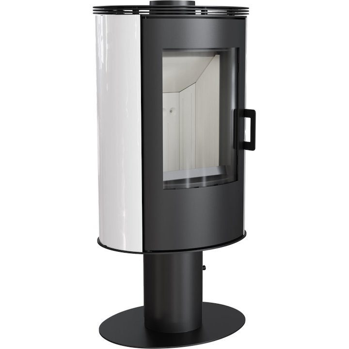 Kratki Koza AB Pedestal Wood Stove Ceramic White Tiles Rotating Pedestal Metal Framed Door - Ceramic White Tiles