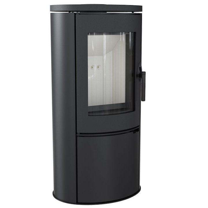 Kratki Koza AB Logstore Wood Stove Black Cast-Iron Door - Black