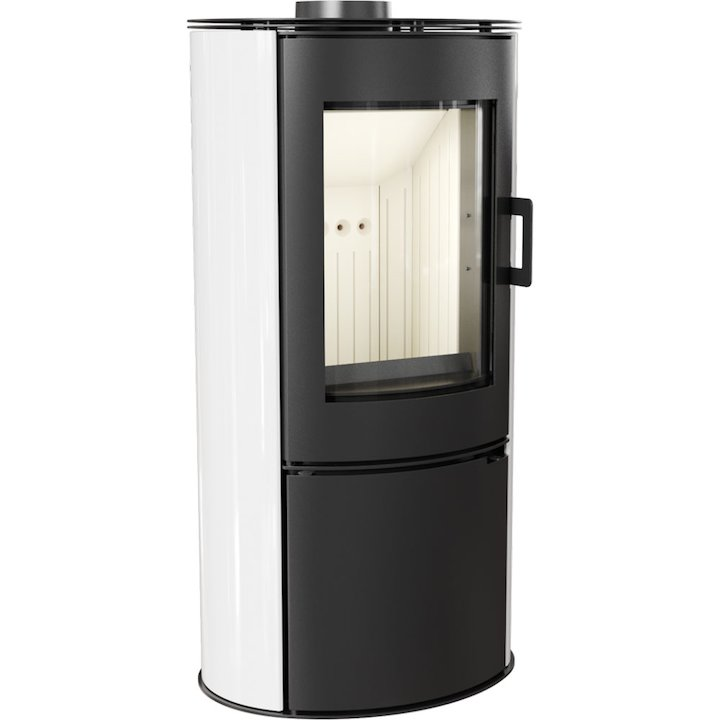 Kratki Koza AB Logstore Wood Stove Ceramic White Tiles Steel Door - Ceramic White Tiles