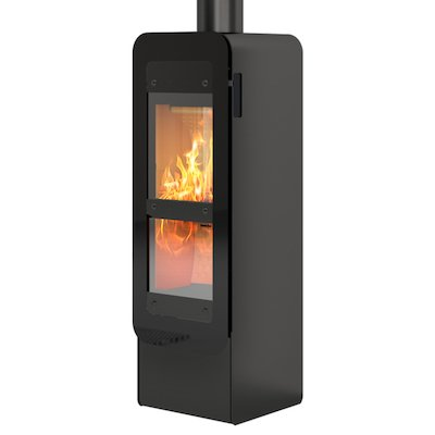 Rais Bionic Wood Gasification Stove Black Black Glass Framed Door