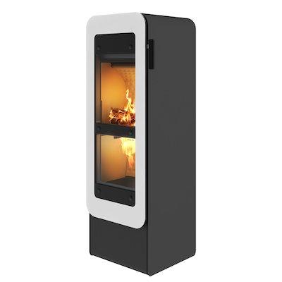 Rais Bionic Wood Gasification Stove Black White Glass Framed Door