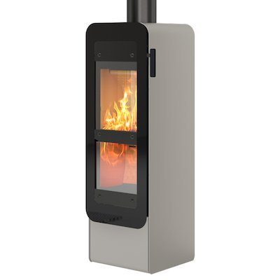 Rais Bionic Wood Gasification Stove Nickel Black Glass Framed Door