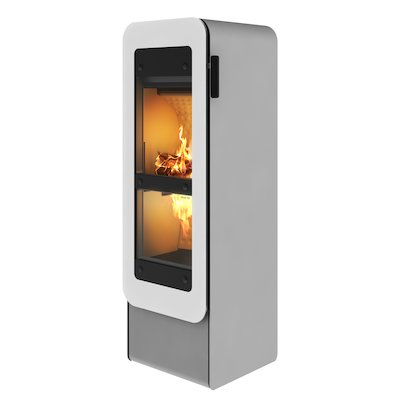 Rais Bionic Wood Gasification Stove Nickel White Glass Framed Door