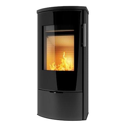 Rais Epoca II Wood Stove Black Black Glass Framed Door