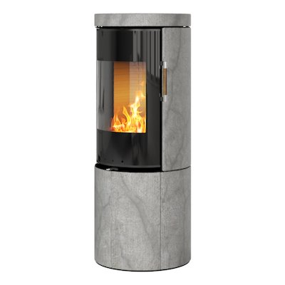 Rais Juno 120 Wood Stove Black Glass/Soapstone Black Glass Framed Door Solid Sides